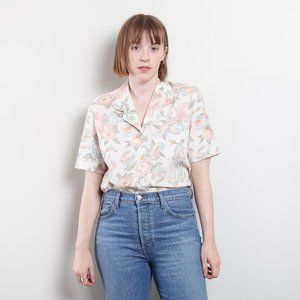 80s Linen Floral Button Up